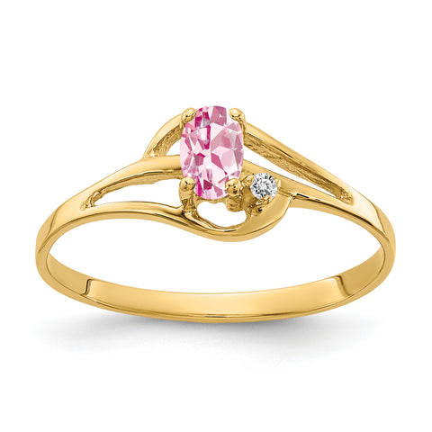 14K 5x3mm Oval Pink Tourmaline AAA Diamond ring