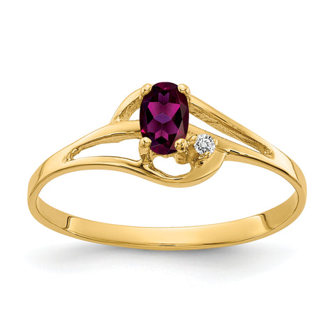 14K 5x3mm Oval Rhodolite Garnet AA Diamond ring