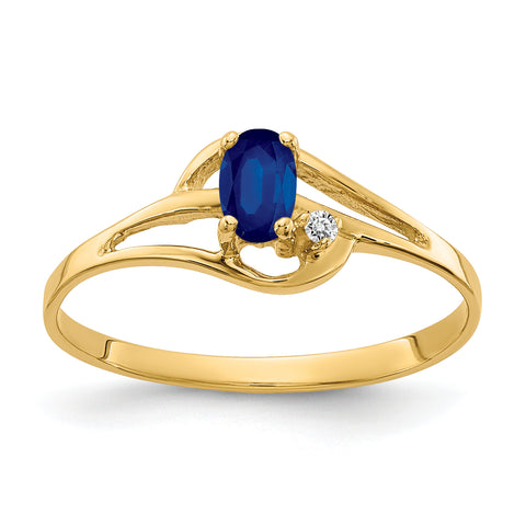14K 5x3mm Oval Sapphire AAA Diamond ring