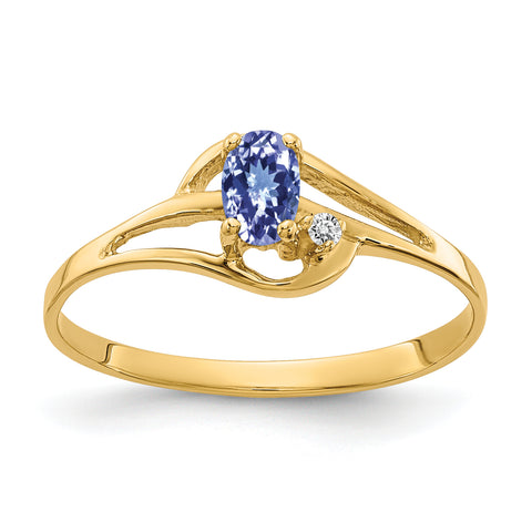 14K 5x3mm Oval Tanzanite AAA Diamond ring
