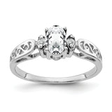 14K White Gold 6x4mm Oval Cubic Zirconia AA Diamond ring