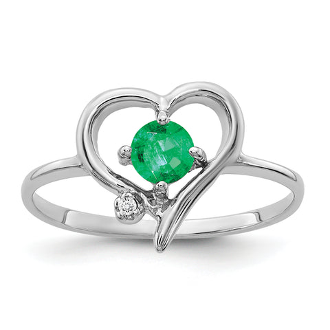 14K White Gold 4mm Emerald A Diamond ring