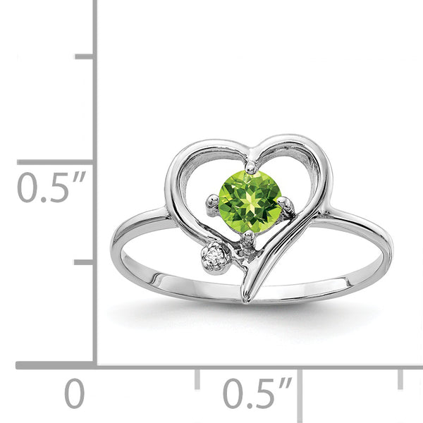 14K White Gold 4mm Peridot A Diamond ring