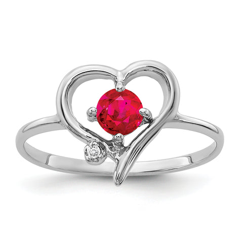 14K White Gold 4mm Ruby AAA Diamond ring