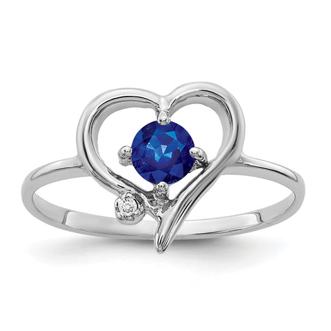 14K White Gold 4mm Sapphire A Diamond ring