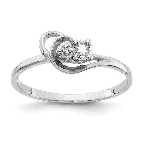 14K White Gold 3mm Cubic Zirconia A Diamond ring