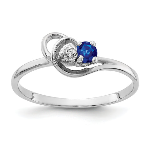 14K White Gold 3mm Sapphire A Diamond ring