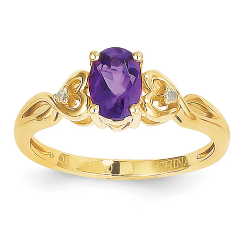 10K Amethyst Diamond Ring