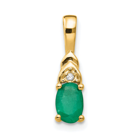 14K Diamond & Emerald Pendant