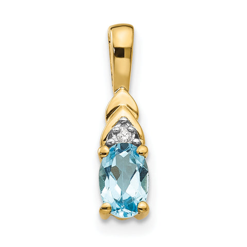14K Diamond & Blue Topaz Pendant
