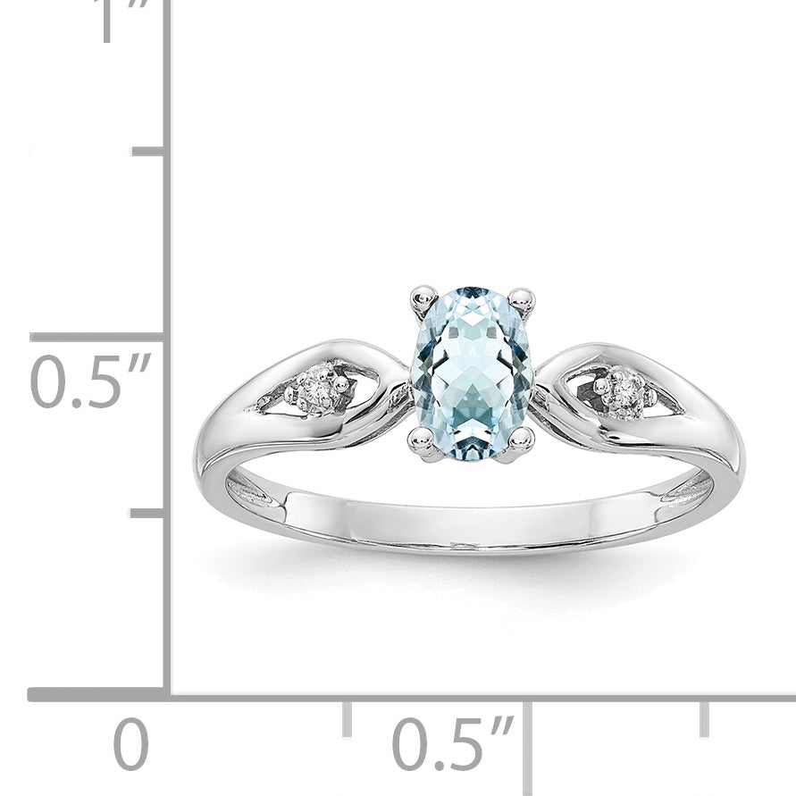 14K White Gold Aquamarine Diamond Ring