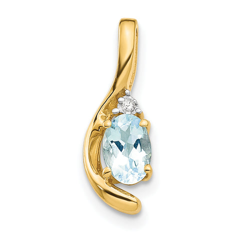 14K Diamond & Aquamarine Pendant
