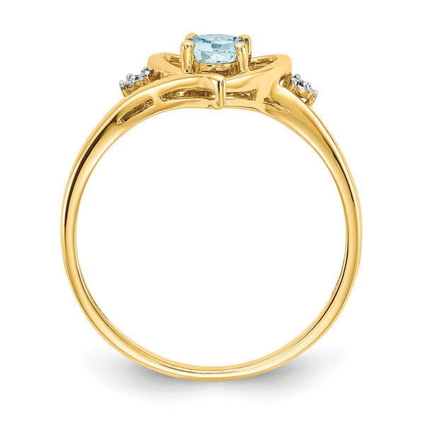 14K Diamond & Aquamarine Ring