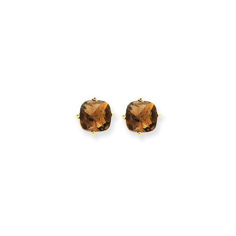 14k 6mm Cushion Checker-Cut Smoky Quartz Earring