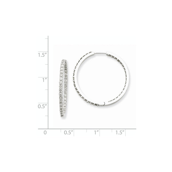 14k White Gold AA Diamond Hoop Earrings