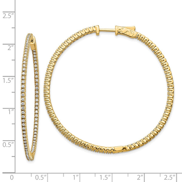14k Diamond Round Hoop w/Safety Clasp Earrings