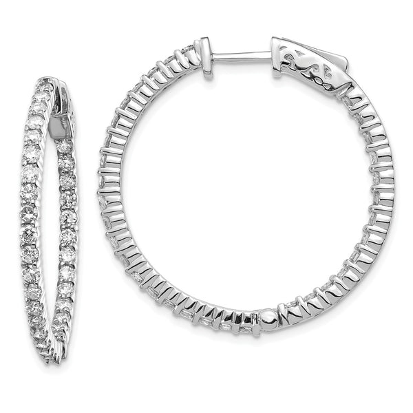 14K White Gold Diamond Round Hoop w/Safety Clasp Earrings