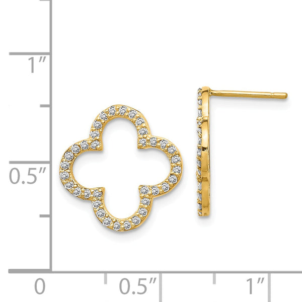 14k Diamond Quatrefoil Design Post Earrings
