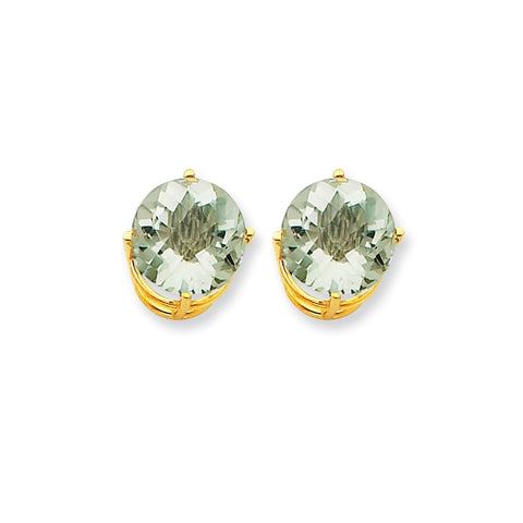 14k 10mm Round Green Quartz Earrings