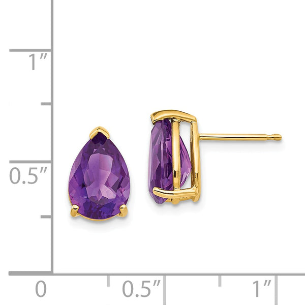 14k 10x7mm Pear Amethyst Earrings