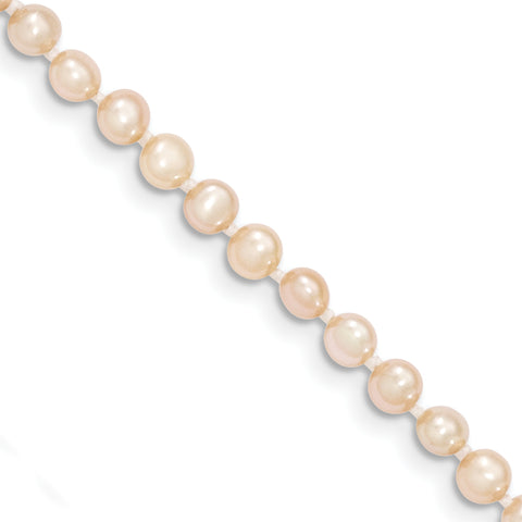 14k 3-4mm Pink Near Round Freshwater Cultured Pearl Bracelet
