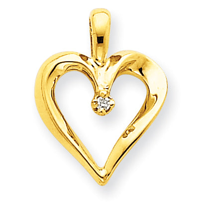 14K AAA Diamond Heart