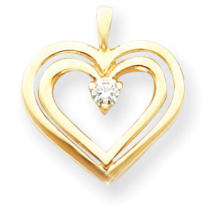 14K AAA Diamond heart pendant