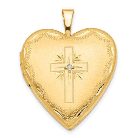 14K 20mm Diamond Set Cross Heart Locket