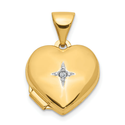 14K 12mm Heart with Diamond Locket