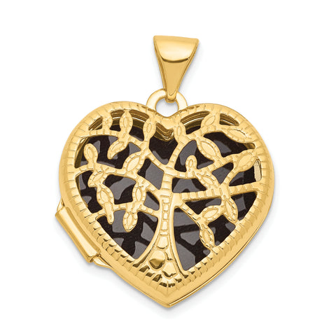 14K 18mm Heart w/Tree Locket