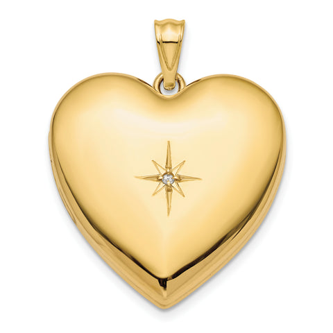 14K 24mm with Dia. Star Design Ash Holder Heart Locket