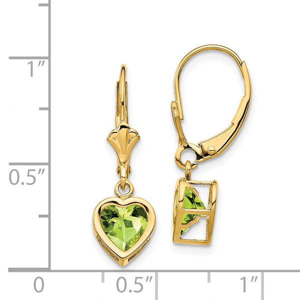 14k 6mm Heart Peridot Earrings