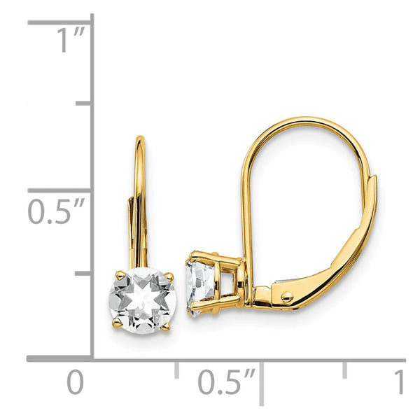 14k 5mm Cubic Zirconia Leverback Earrings