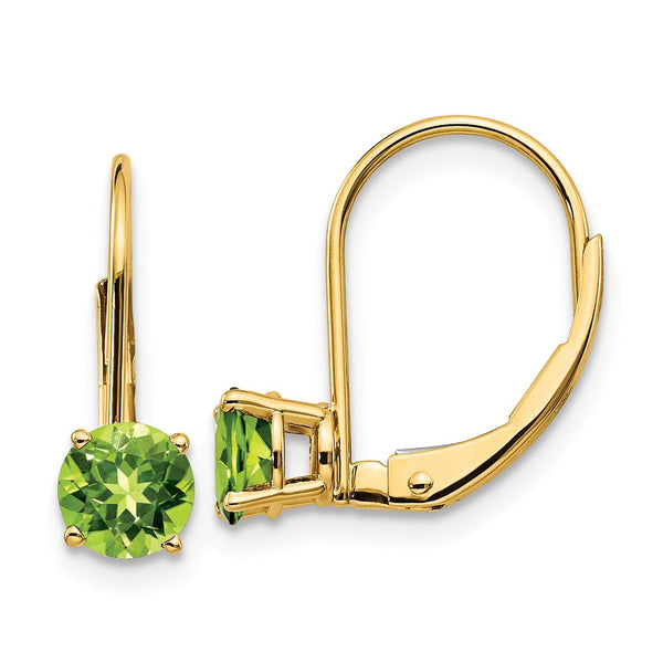14K 5mm Peridot Leverback Earrings