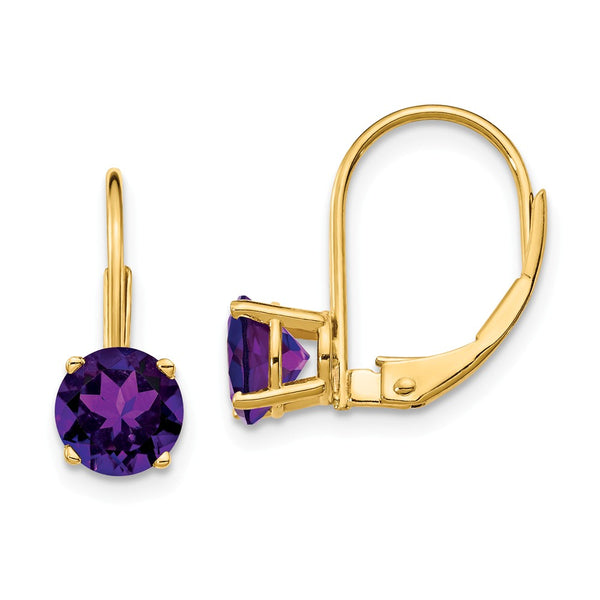 14K 6mm Amethyst Leverback Earrings