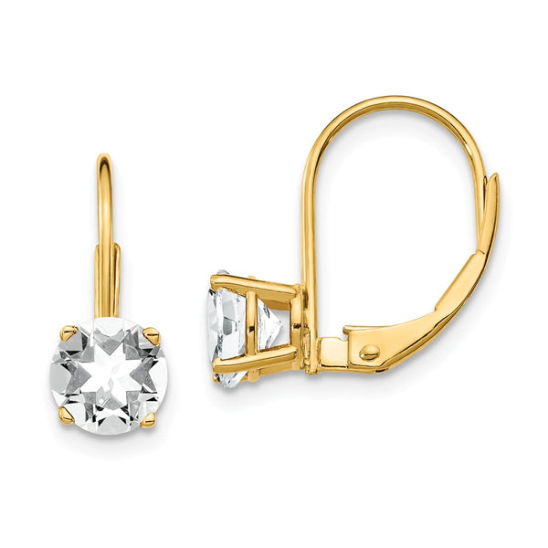 14K 6mm Cubic Zirconia Leverback Earrings