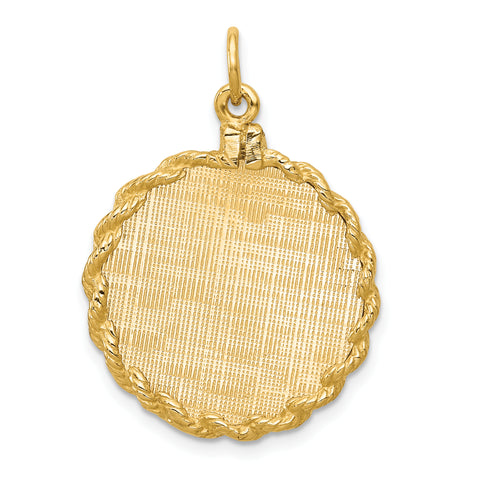 14K Patterned .013 Gauge Engravable Disc Rope Charm with satin back