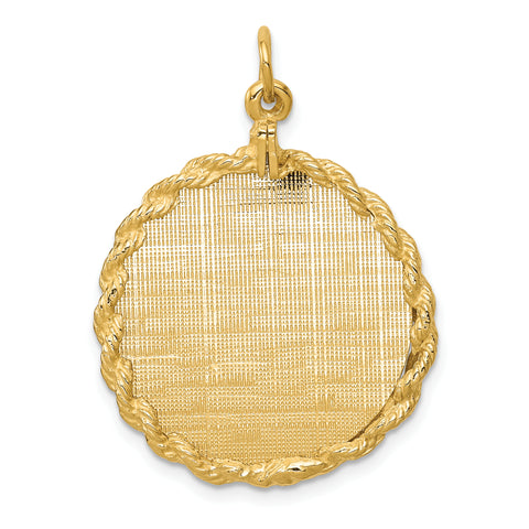 14K Patterned .013 Gauge Circular Engravable Disc with Rope Charm