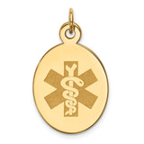 14K Non-enameled Medical Jewelry Pendant