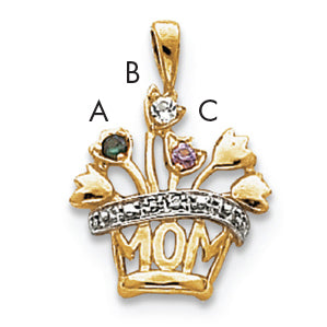 14K 2mm Synthetic AAA Diamond Family Jewelry Pendant
