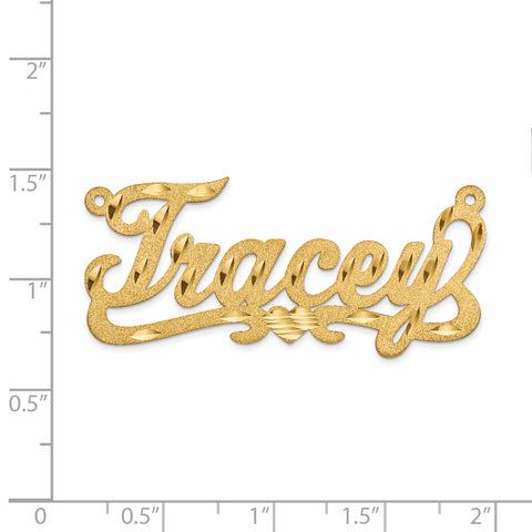 10K .013 Gauge Satin Diamond-cut Name Plate Pendant