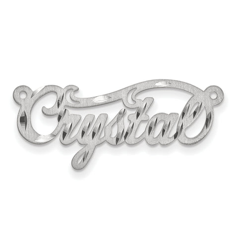 14K .013 Gauge White Gold Satin Diamond-cut Name Plate