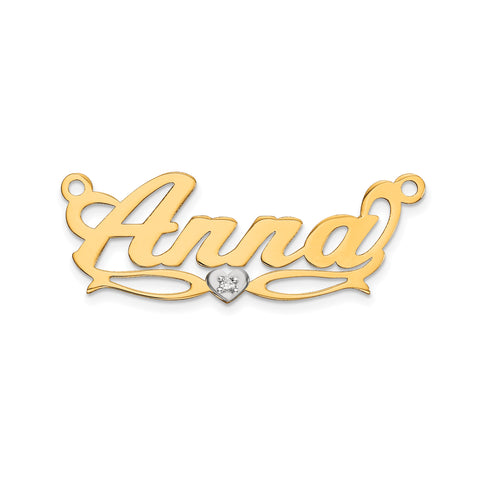 14K Two-tone .005ct Diamond Name Plate
