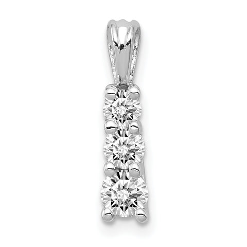 14K White Gold AA Diamond three stone pendant