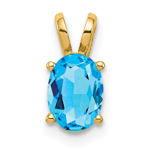 14K 7x5mm Oval Blue Topaz pendant