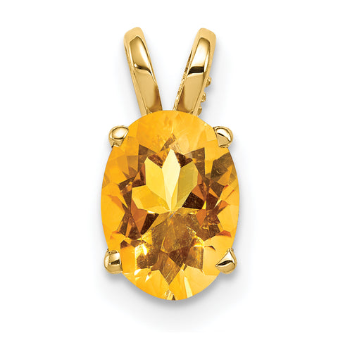 14K 8x6mm Oval Citrine pendant