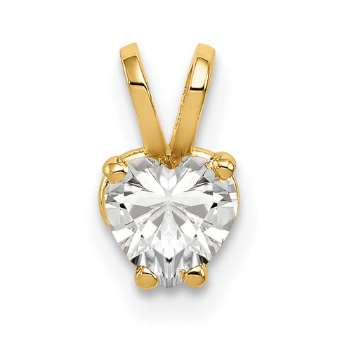 14K 5mm Heart Cubic Zirconia pendant