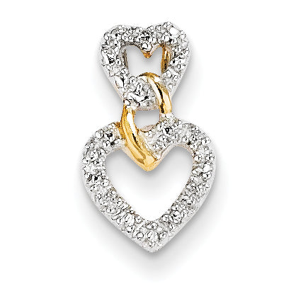 14K Diamond Double Heart Slide Pendant