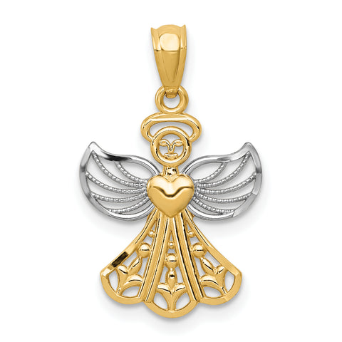 14K & Rhodium Filigree Angel Pendant