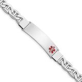 Sterling Silver Rhodium-plated Medical ID Bracelet w/Anchor Link